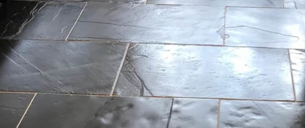 Black slate flooring after a clean